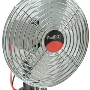 Front view of dash mount fan with metal cage and wires