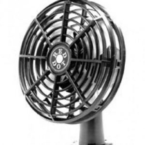 Front angle view of plastic cage fan