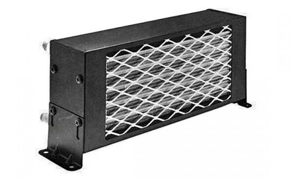 Front angle view of grill and side mounting bracket