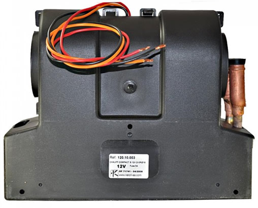 Underside of heater showing wires and label