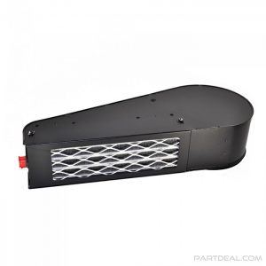 Bottom view of heater with grill and condenser
