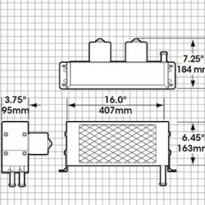 Diagram drawing with heater dimensions