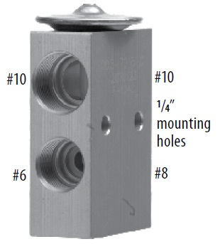 Product image 71R8321 expansion valve with hole sizes
